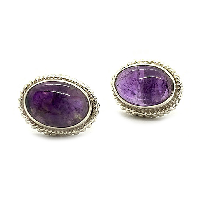 amethyst gemstone sterling silver boho style stud earrings