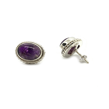 Load image into Gallery viewer, amethyst gemstone sterling silver boho style stud earrings