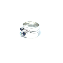 Load image into Gallery viewer, lapis lazuli gemstone boho ring sterling silver