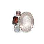 rose quartz garnet pearl sterling silver gemstone ring