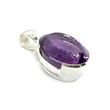 Load image into Gallery viewer, big statement purple amethyst sterling silver pendant