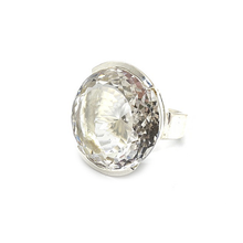 Load image into Gallery viewer, big statement round clear quartz sterling silver gemstone ring
