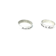 Load image into Gallery viewer, love is patient love is kind silver boho ring