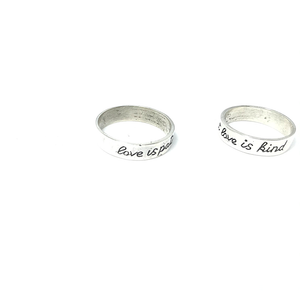 love is patient love is kind silver boho ring