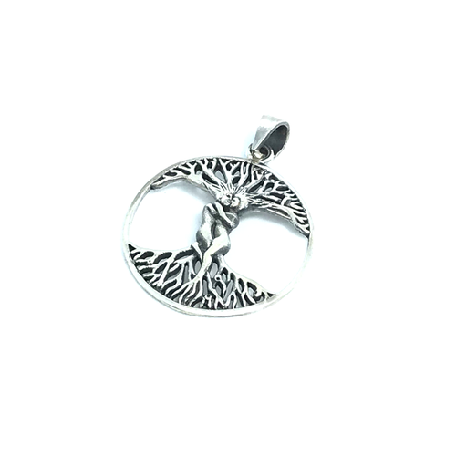 Entwined Lovers Round Pendant Sterling Silver - Quirky Pieces