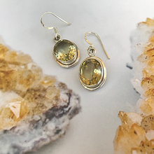 Load image into Gallery viewer, silver lemon quartz gemstone earrings