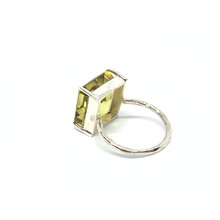 Load image into Gallery viewer, lemon quartz emerald cut gemstone silver ring