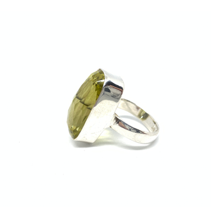 statement lemon quartz sterling silver ring