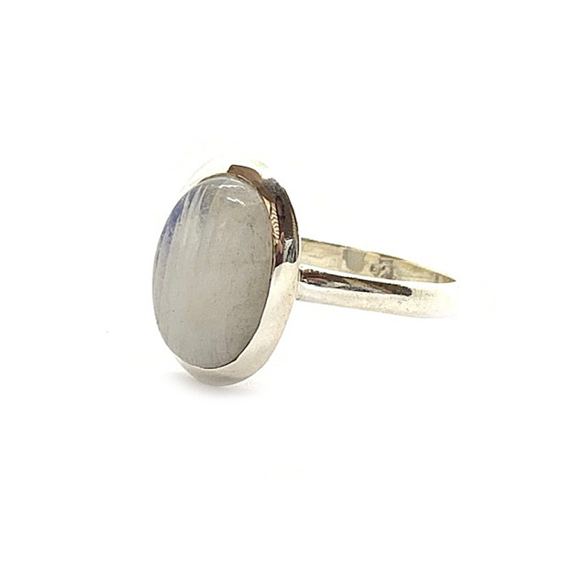 oval moonstone sterling silver boho style ring