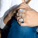 boho style sterling silver moonstone ring