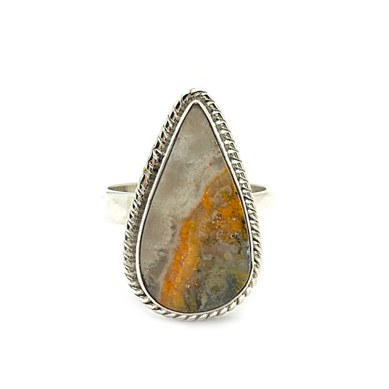 bumble bee jasper gemstone statement sterling silver ring