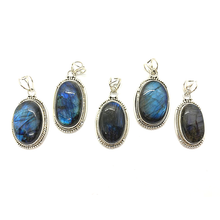 Load image into Gallery viewer, labradorite gemstone sterling silver boho pendant