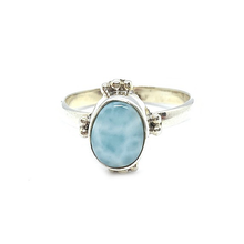 Load image into Gallery viewer, larimar gemstone sterling silver boho ring