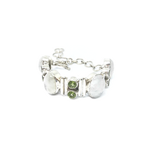 Load image into Gallery viewer, Moonstone Peridot Gemstone Bracelet Sterling Silver - Stoned Hilda Discover the soul of Gemstones