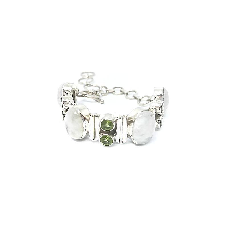 Moonstone Peridot Gemstone Bracelet Sterling Silver - Stoned Hilda Discover the soul of Gemstones