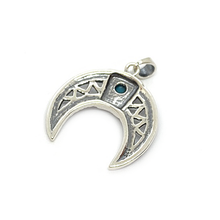Load image into Gallery viewer, half moon boho pendant sterling silver with turquoise
