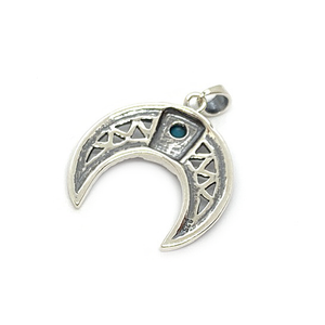 half moon boho pendant sterling silver with turquoise