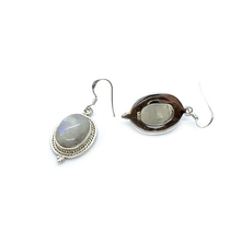 Load image into Gallery viewer, oval moonstone sterling silver gypsy boho style drop earrings