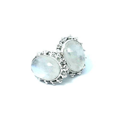Moonstone Earrings Oval Set In Sterling Silver - Stoned Hilda Discover the soul of Gemstones