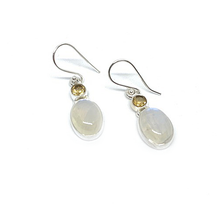 Load image into Gallery viewer, moonstone lemon quartz sterling silver earrings