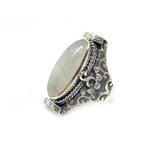 Load image into Gallery viewer, moonstone gemstone sterling silver saddle style boho ring