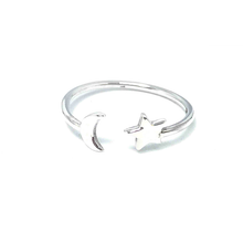 Load image into Gallery viewer, love you to the moon and back silver ring