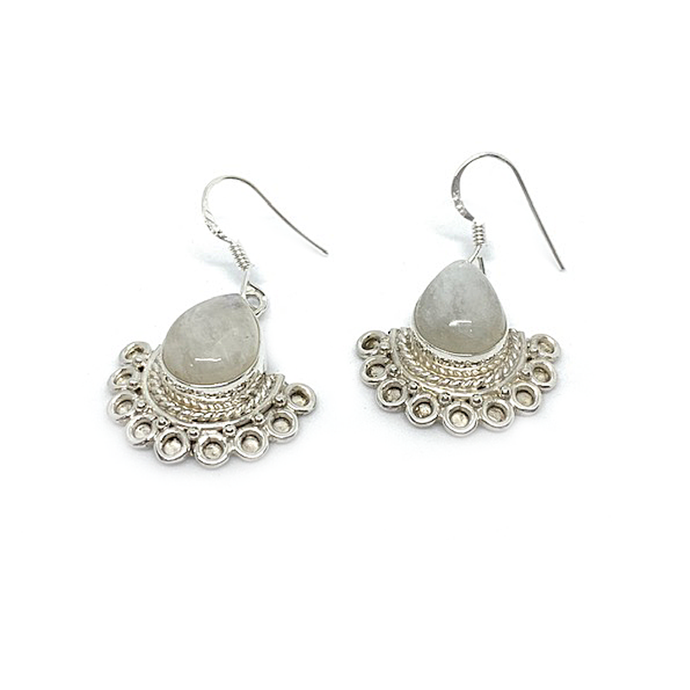 moonstone gemstone bohemian style silver earrings