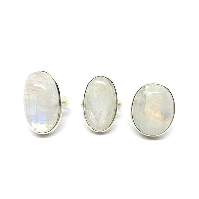 moonstone oval sterling silver gemstone ring