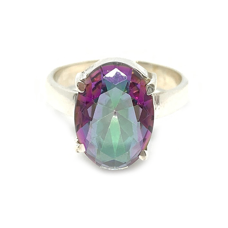 oval mystic topaz gemstone sterling silver claw ring