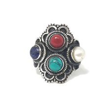 Load image into Gallery viewer, lapis lazuli turquoise coral silver boho ring