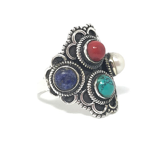 multi gemstone ring with pearl