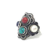 Load image into Gallery viewer, pearl coral turquoise coral gypsy style silver ring