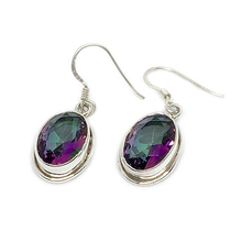 Load image into Gallery viewer, mystic topaz oval gemstone sterling silver earrings