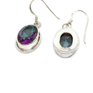mystic topaz oval gemstone sterling silver earrings