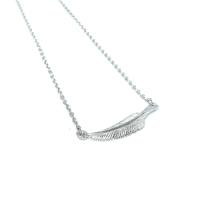 sterling silver feather boho necklace