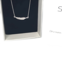 Load image into Gallery viewer, silver necklace feather gypsy style chain