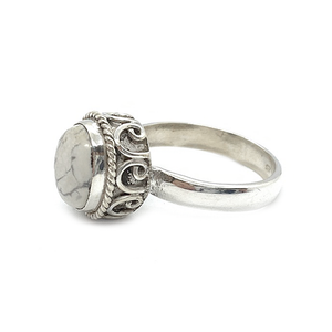 howlite sterling silver gemstone boho ring