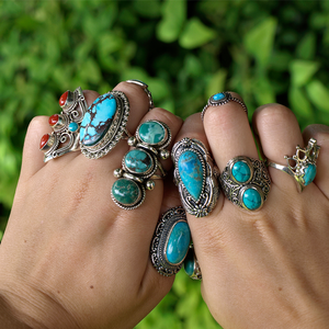 large statement turquoise silver ring