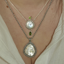 Load image into Gallery viewer, pearl and peridot sterling silver pendant