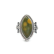 Load image into Gallery viewer, ocean jasper bohemian style silver ring