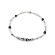 Load image into Gallery viewer, black onyx sterling silver ball stretch boho bangle bracelet