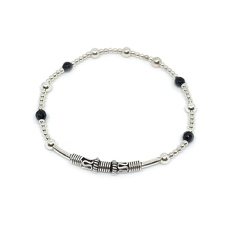 black onyx sterling silver ball stretch boho bangle bracelet