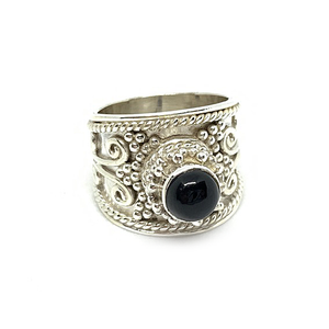black onyx sterling silver tribal boho gemstone ring