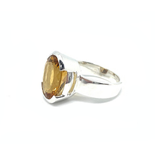 Load image into Gallery viewer, big statement silver citrine gemstone ring