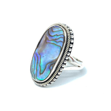 Load image into Gallery viewer, shell silver gypsy style ring