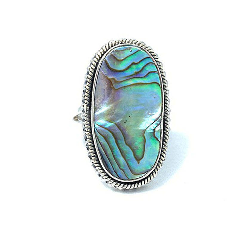 statement oval silver shell ring