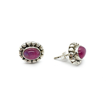 Load image into Gallery viewer, pink moonstone sterling silver stud earrings