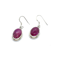 Load image into Gallery viewer, pink moonstone oval sterling silver drop earrings