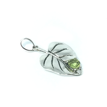 Load image into Gallery viewer, peridot silver leaf boho pendant