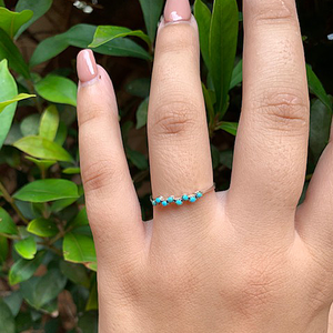 turquoise sterling silver petite gemstone ring